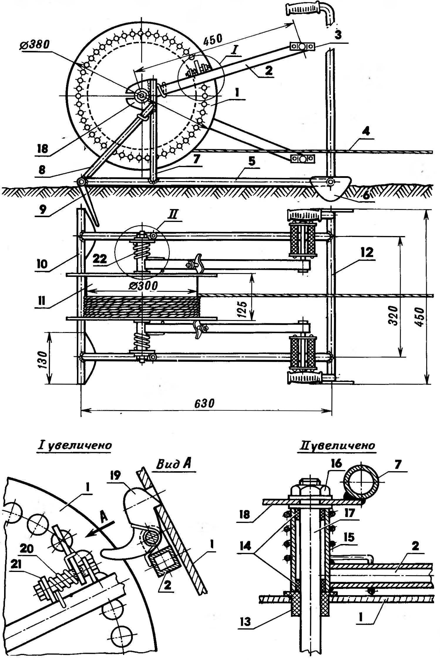 Модернизированная велолебедка на базе механизма Г. И. Одегова