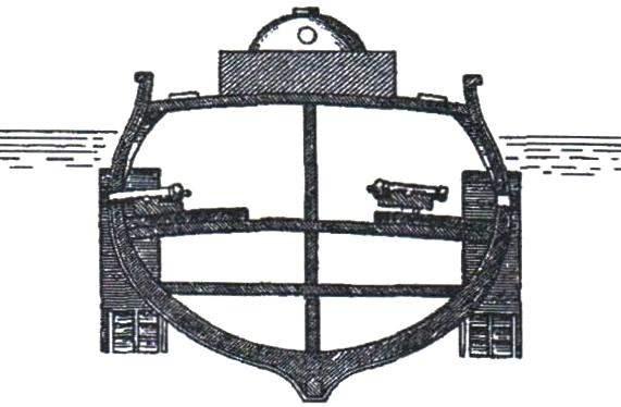 Подводное судно «Л'Энвизибль» («Невидимый») капитана 2 ранга Ж. Монжери. Сечение по миделю