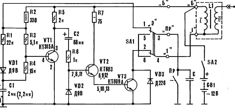 Рис. I. Принципиальная схема транзисторного варианта УЭЗ
