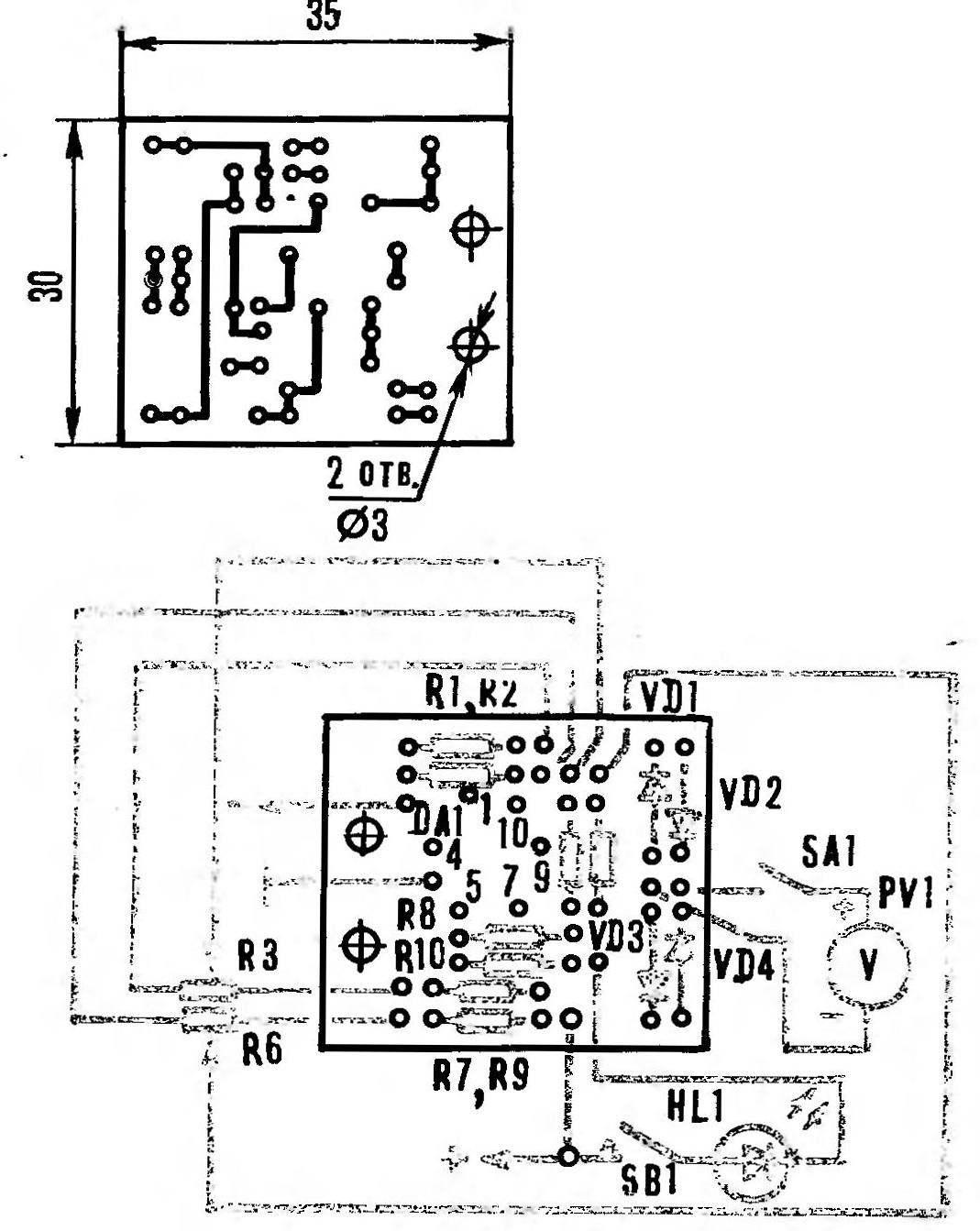 Р и с. 4. Монтажная плата игрового автомата со схемой расположения элементов