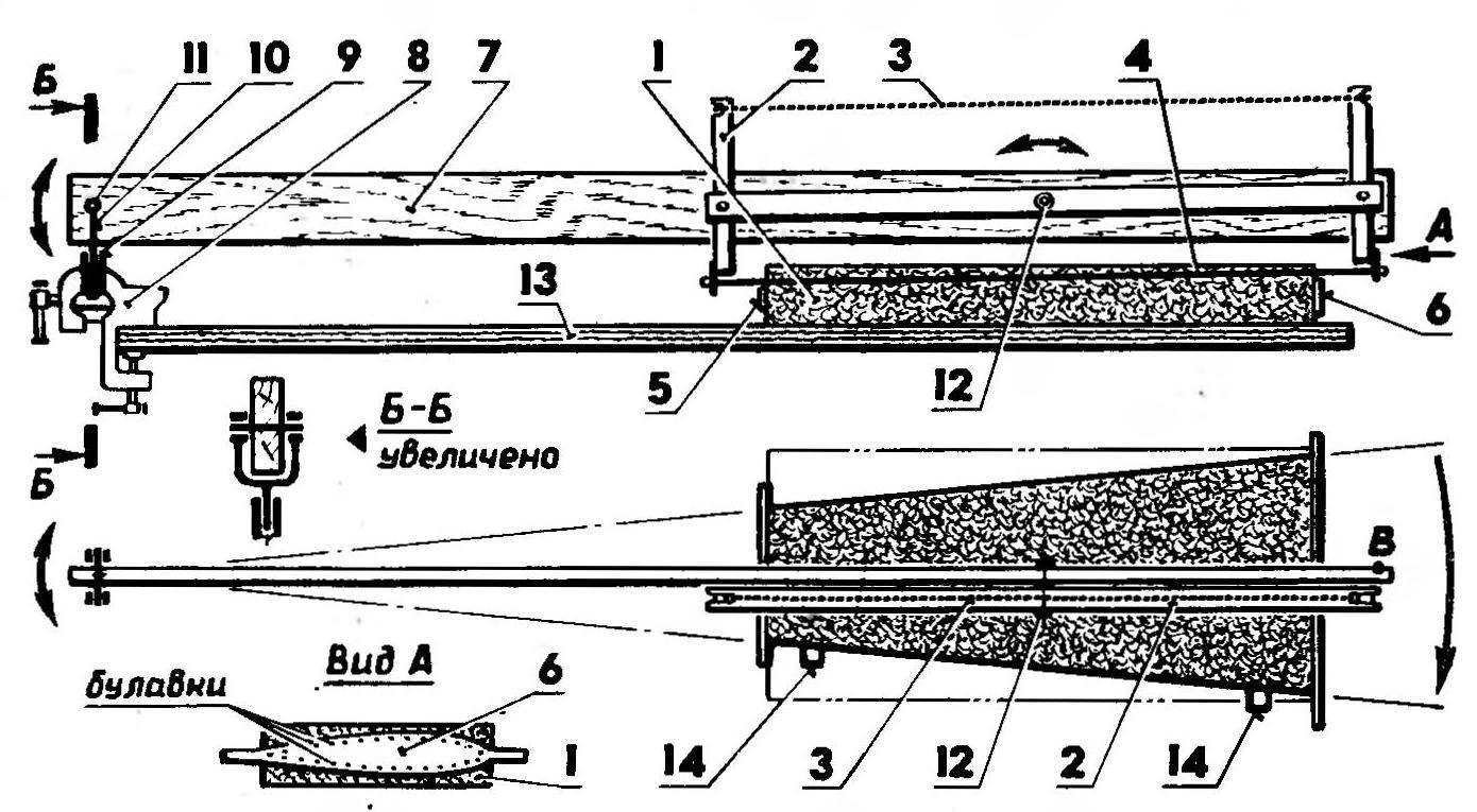 Приспособление для вырезки из пенопласта заготовок конусных консолей крыла