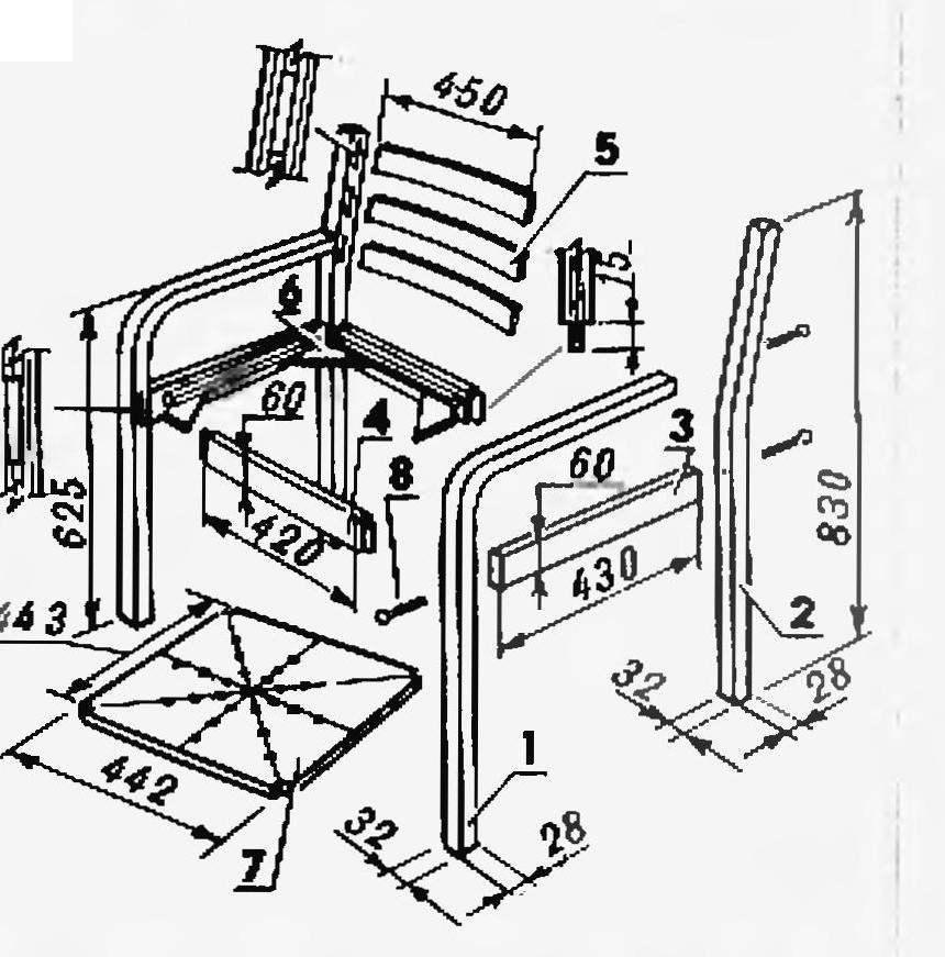 Рис. 2. Конструкция стула с использованием гнутых элеметов