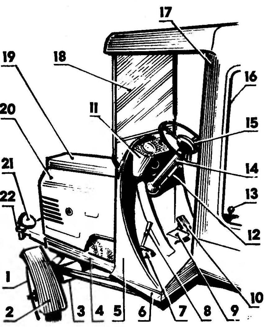 Расположение узлов и деталей на передней части рамы