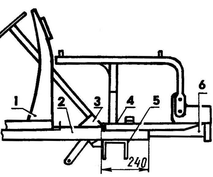Крепление рамы силового агрегата на раме МТ