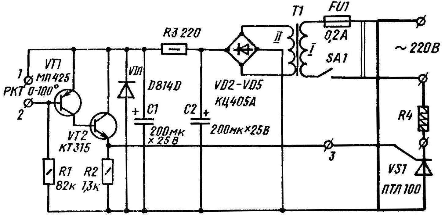 Принципиальная электрическая схема терморегулятора