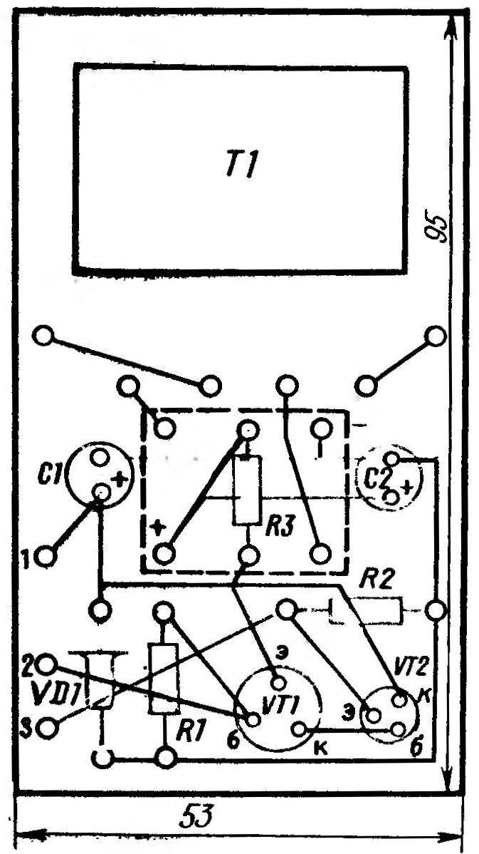 Печатная плата с расположенными на ней элементами схемы