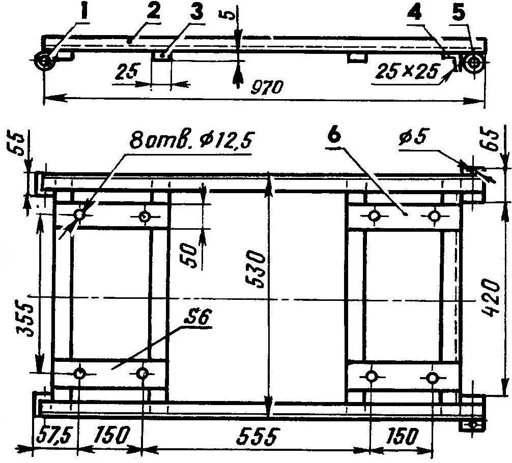 Р и с. 1. Основание грузового кузова для мотоцикла ИЖ-Ю-ЗК