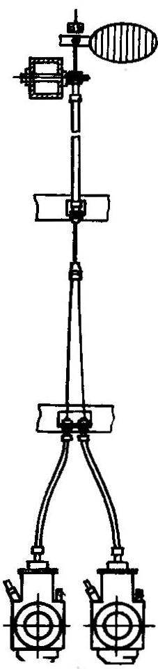 Рис. 2. Переходник для управления дроссельными заслонками двух карбюраторов силовой установки мотодельтаплана