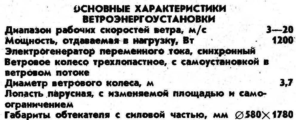 THE MAIN CHARACTERISTICS OF VETROENERGOUSTANOVKI