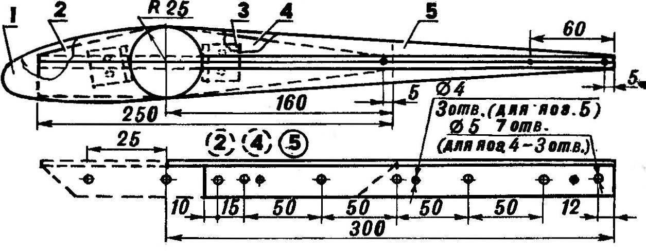 Р и с. 5. Распорки для удержания каната и натяжения задней кромки лопасти, их положение относительно ребер-«сандвичей» на лонжероне