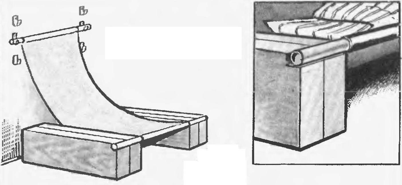 Вырезы в тумбах для фиксации труб лежака