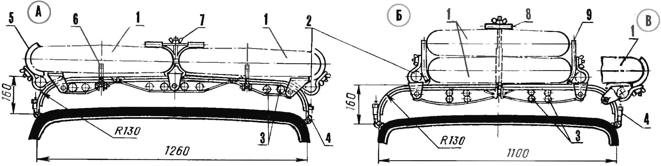 Р и с 2. Универсальный багажник (А — вариант для автомобиля «Жигули»; Б — вариант для автомобиля «Запорожец»; В — вариант для транспортировки двух парусных досок с расположением в один ярус)