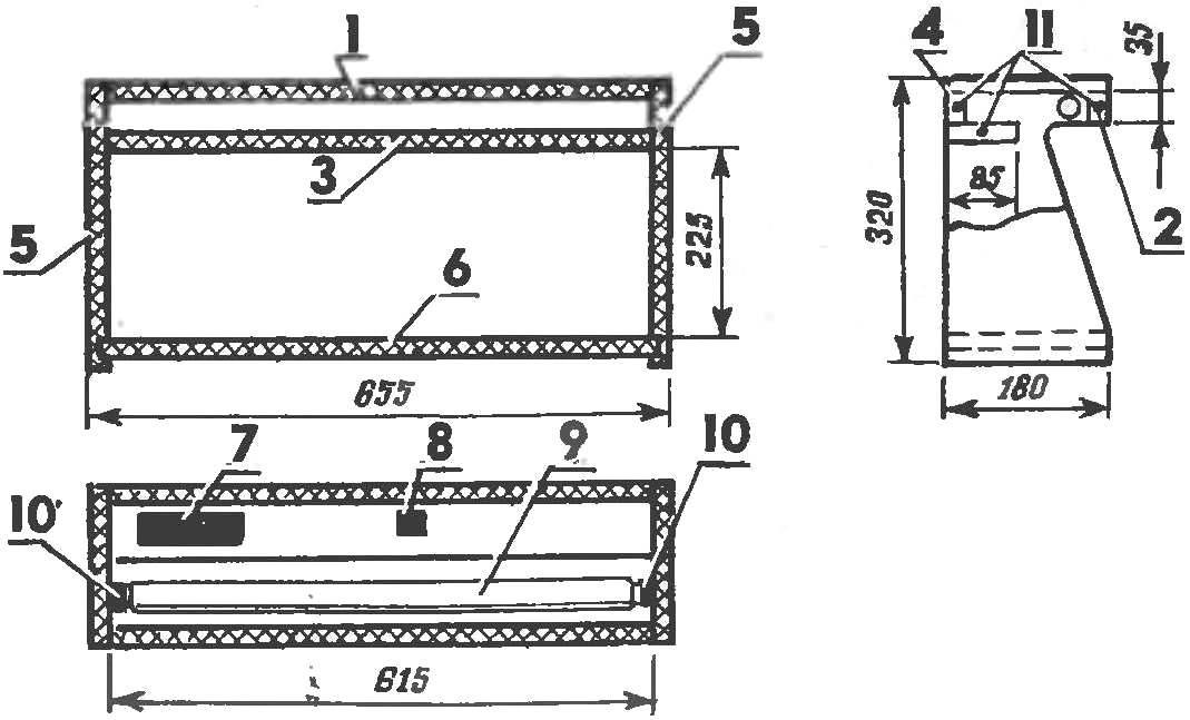 Конструкция полки-светильника