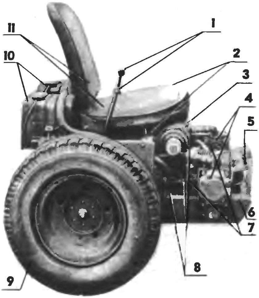 Расположение двигателя и гидравлики на раме МТ