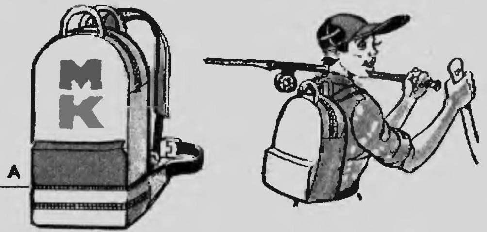 Вариант совместного использования поясной сумки и рюкзака. А -соединительная «молния»