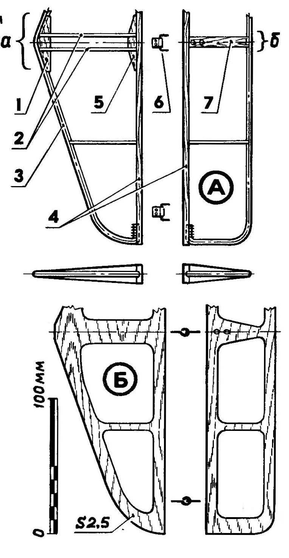 Горизонтальное оперение (А — металлический вариант, Б — цельно-фанерный вариант)