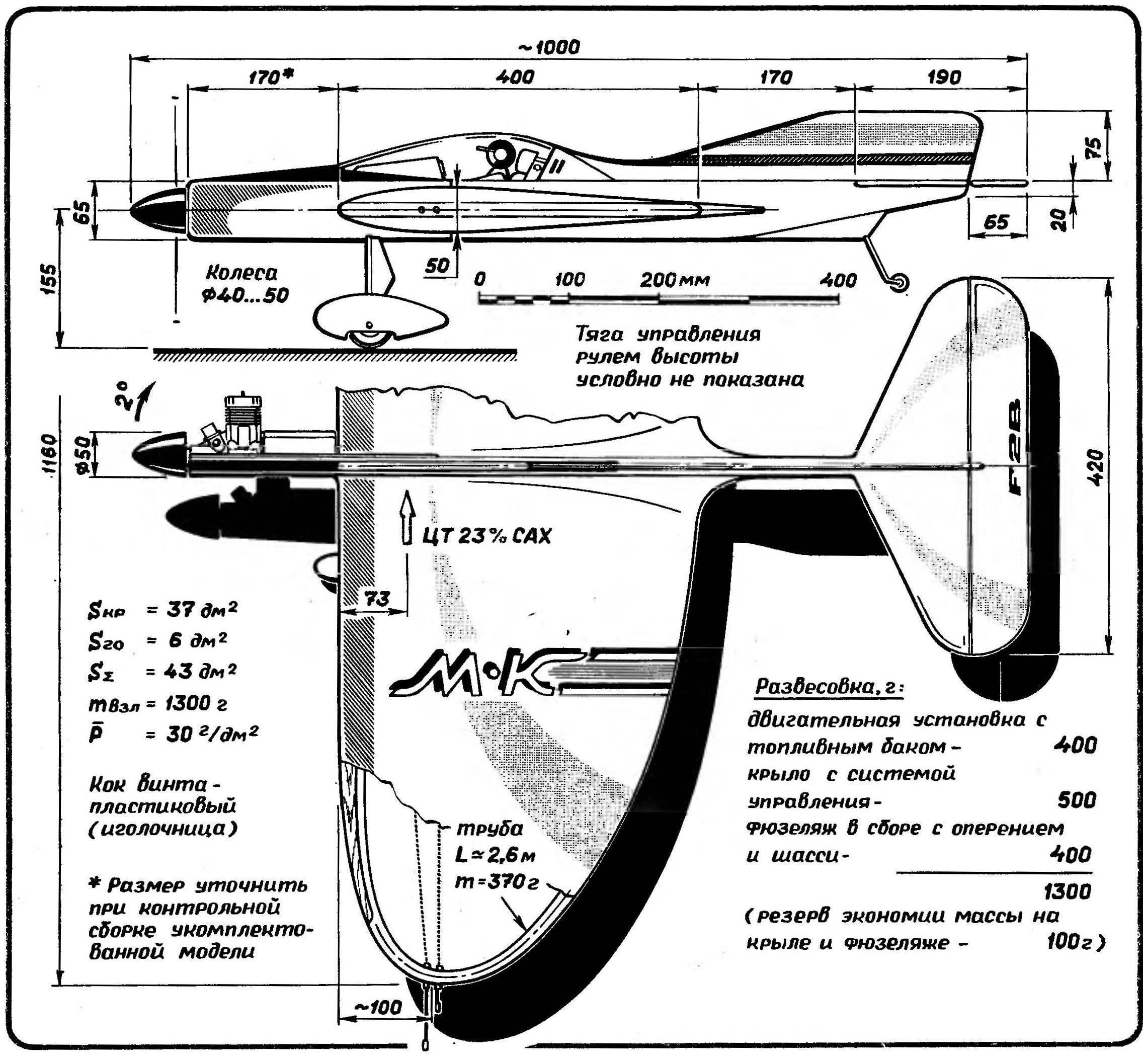 Кордовая пилотажная модель с двигателем рабочим объемом 6,5—7 см3, выполненная по аналогичной силовой схеме