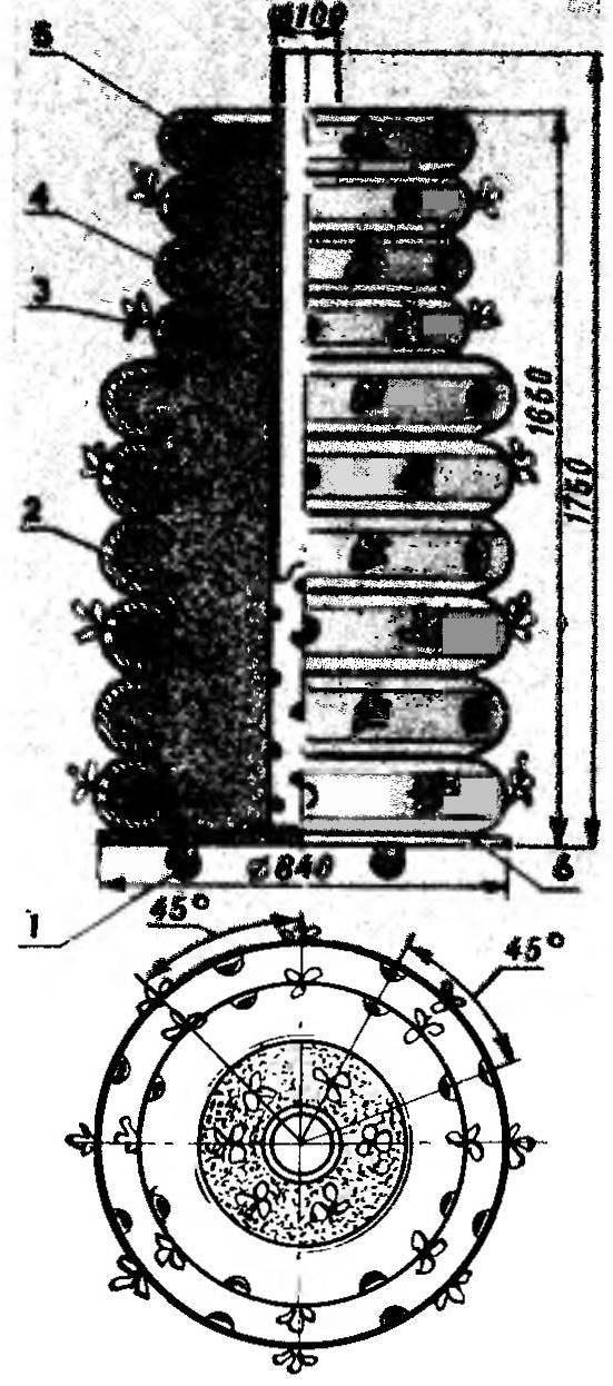 Рис. 3. Пирамида из автопокрышек — для земляники