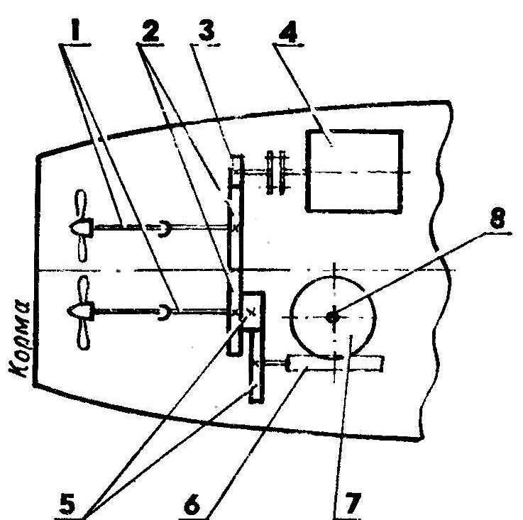 Рис. 1. Кинематическая схема механизмов привода модели и остановки ходового электро двигателя