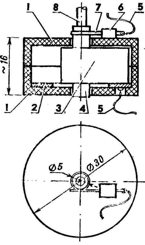 Рис. 2. Электрическая схема ограничителя времени хода. Выключатель приводится в действие механизмом ограничителя