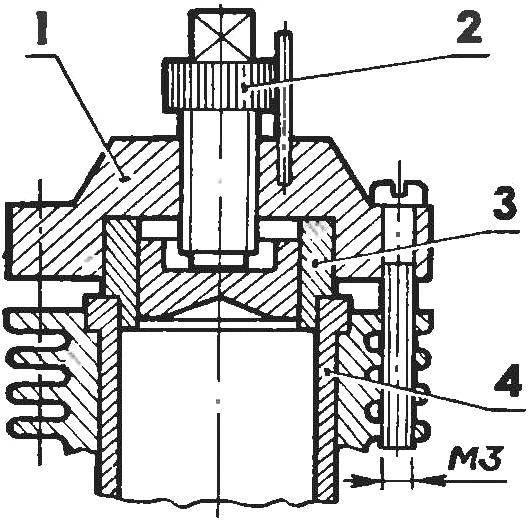 Дизельная головка переделанного КМД с использованием гильзы и контрпоршня от МК-16 или МК-17