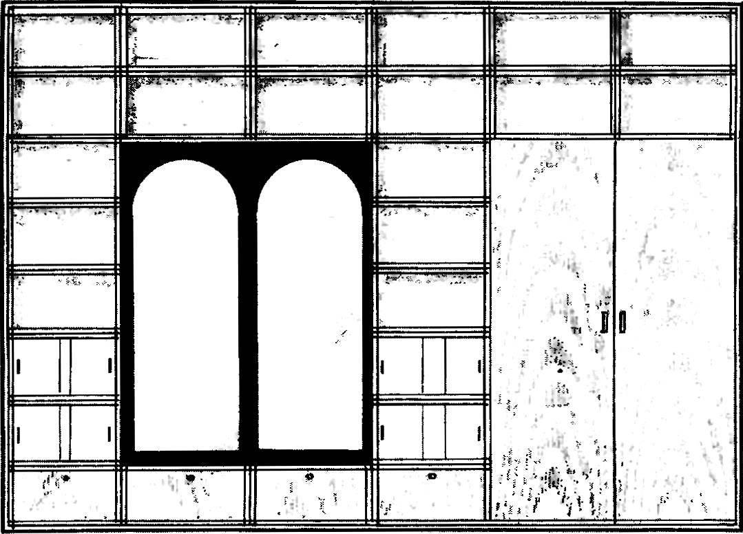 Рис. 2. Модульная стенка из 26 полок, шкафа-гардероба и зеркального блока.