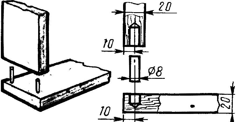 Рис. 2. Типовое место соединения панелей на шипах