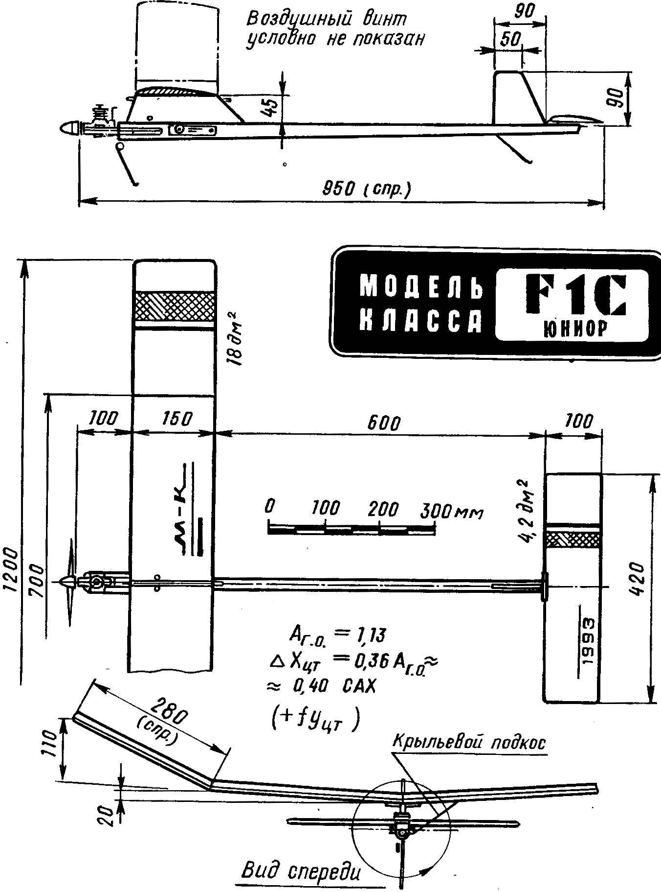 Основные геометрические параметры таймерной модели «школьного» класса с двигателем рабочим объемом 1,5 см3.