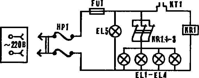 Рис. 2. Схема подключения самодельного инкубатора к электросети