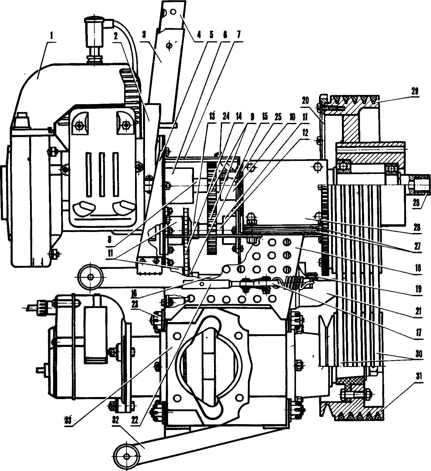 Пусковое устройство в сборе с двигателем.