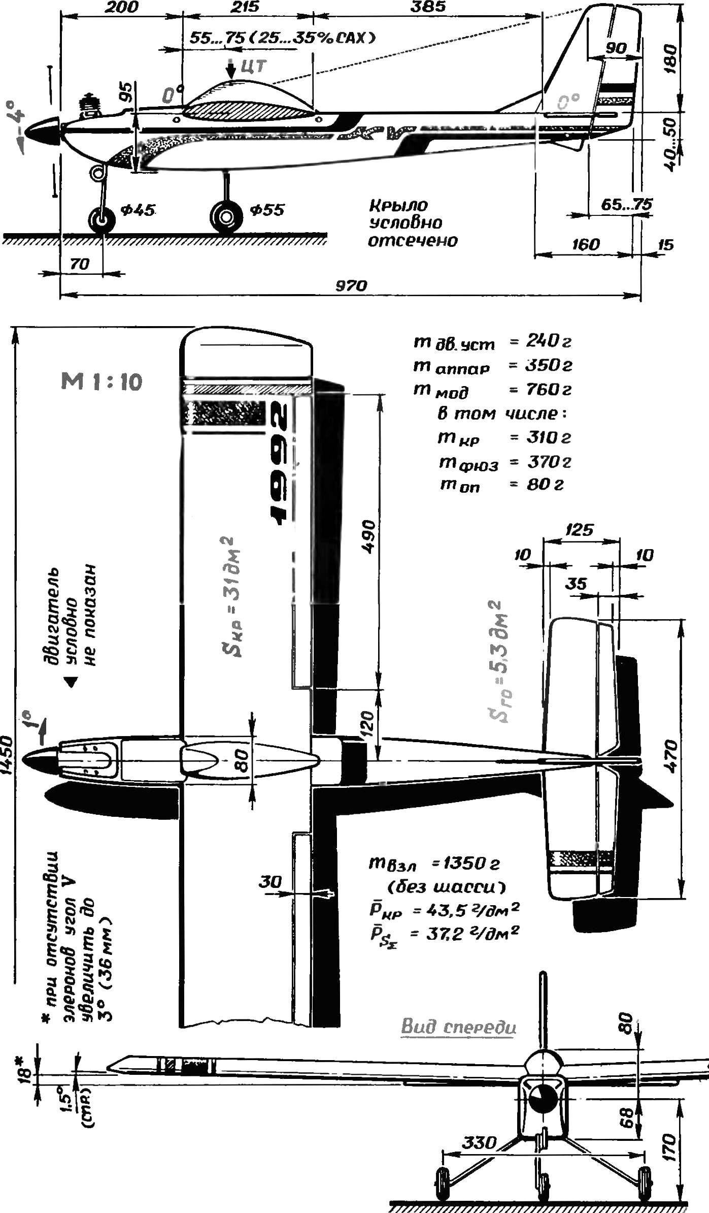 Универсальная радиоуправляемая модель. Основные геометрические параметры.