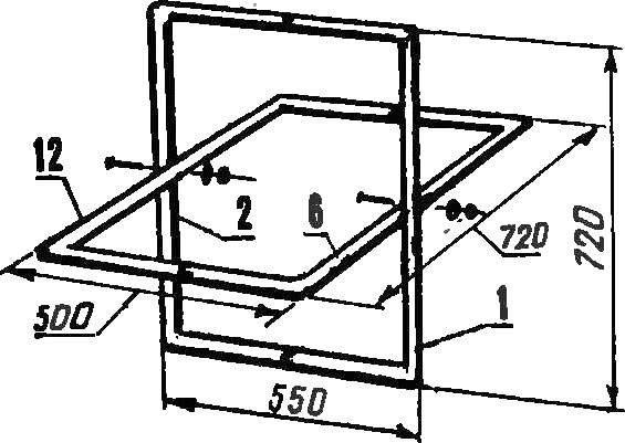Схема соединения ножек стола (условно повернуто).