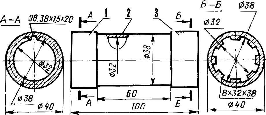 Втулочная муфта (двойное шлицевое соединение)