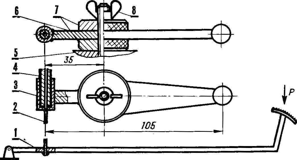 Устройство ручного и ножного управления дросселем