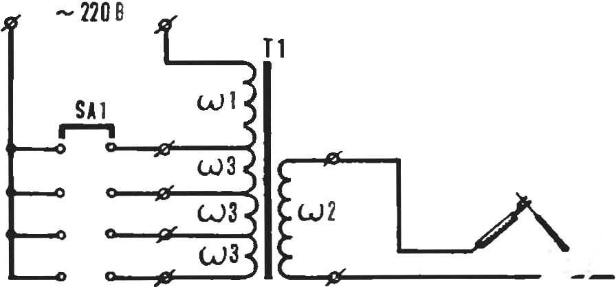 Рис. 4. Принципиальная схема сварочного трансформатора.