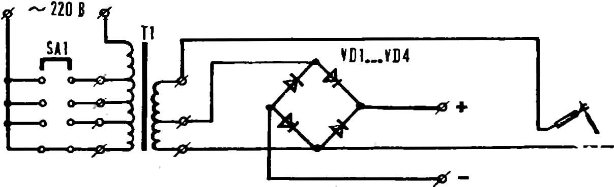 Fig. 6. Universal device for welding with alternating current and starting the car with direct current.
