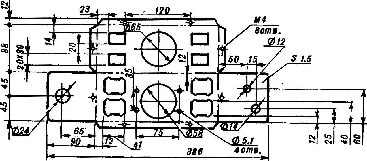 Рис. 10. Развертка передней панели блока приборов (Д16, толщина 1,5 мм).