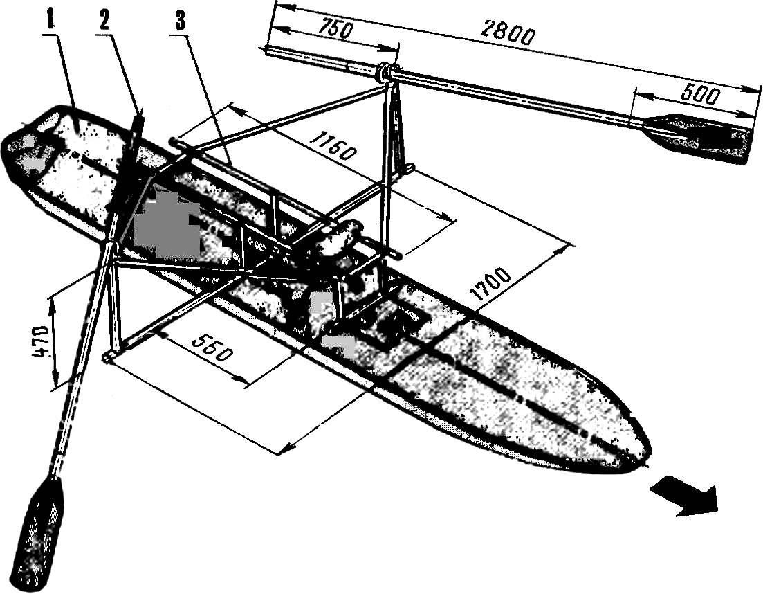 Рис. 1. Парусная доска под веслами