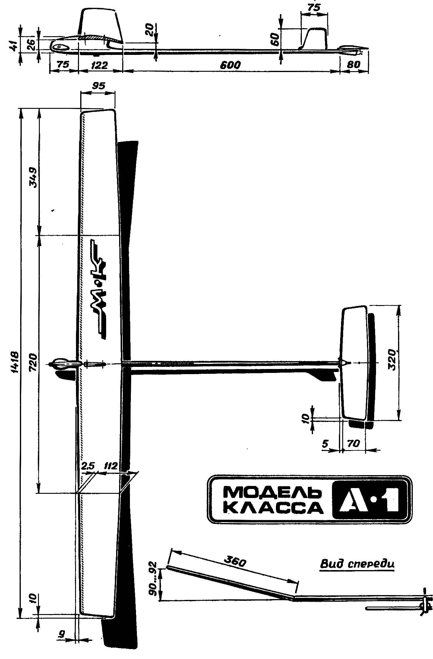 Основные размеры модели планера.