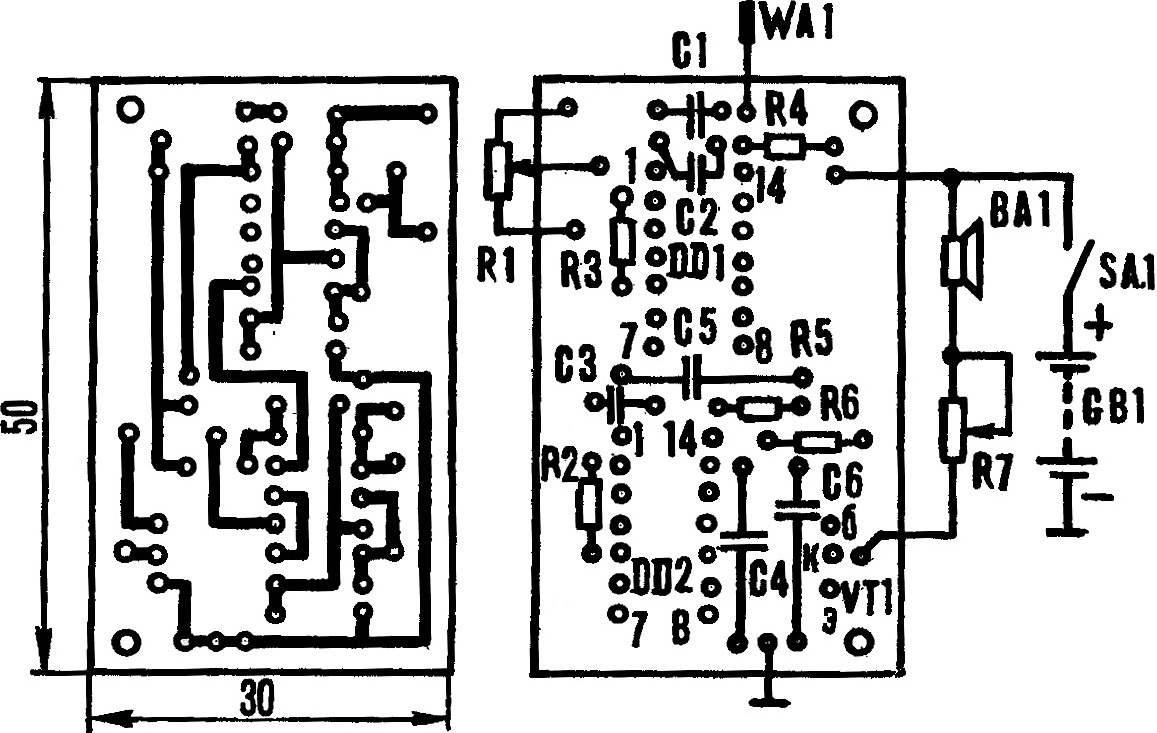 Рис. 3. Монтажная плата инструмента со схемой расположения элементов.