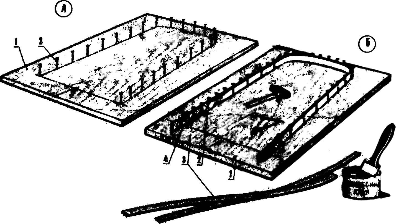 Схема выклейки шпангоутов и основания кабины.