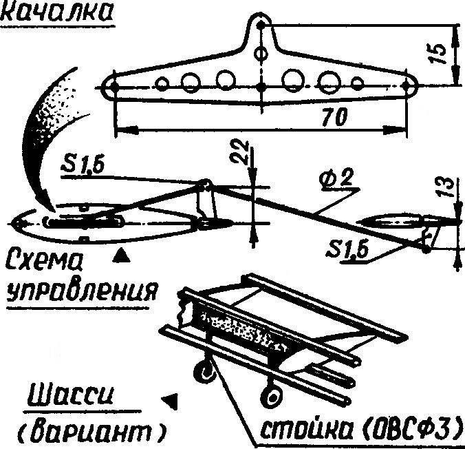 Схема управления и шасси пилотажной модели.
