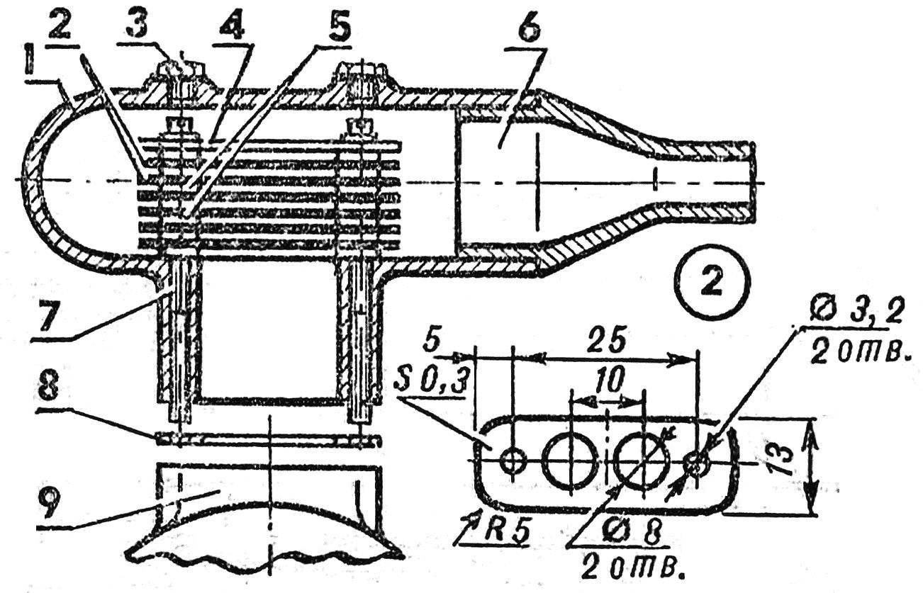 Глушитель двигателя «Радуга-7» после доработок