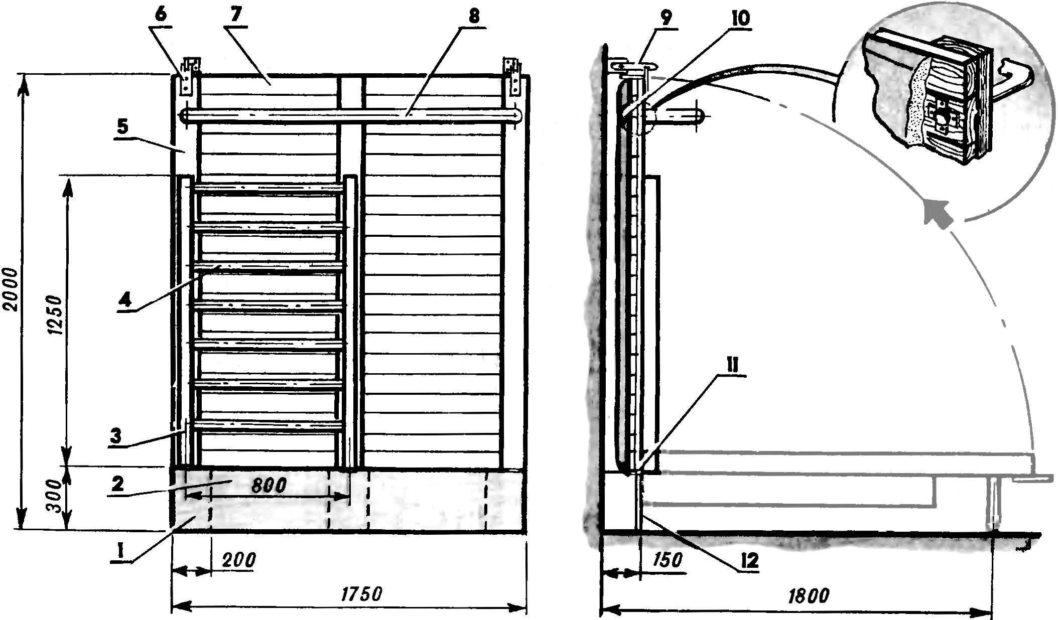 Рис. 1. Спортивная стенка-кровать.