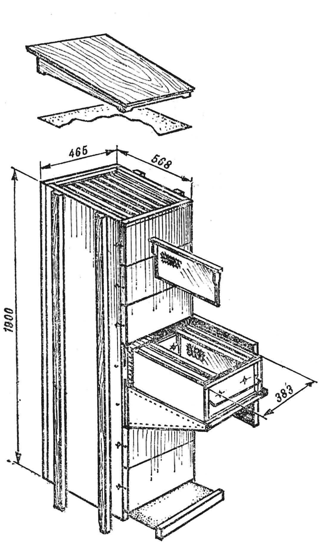 Рис. 1.Общий вид кассетного улья