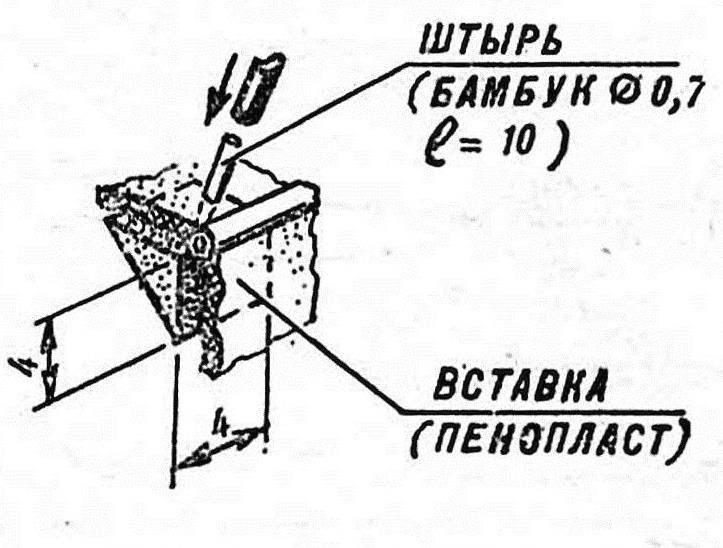 Р и с. 4. Вклейка штырей для монтажа надстроек на фюзеляже.