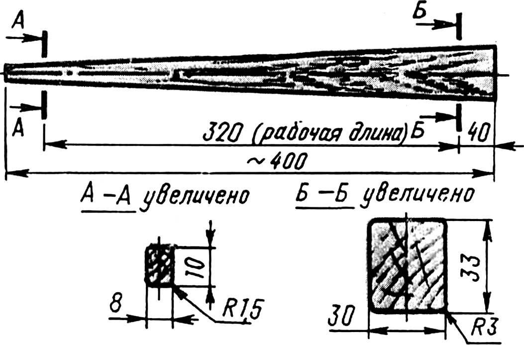 Оправка для выклейки хвостовой балки из крафт-бумаги.