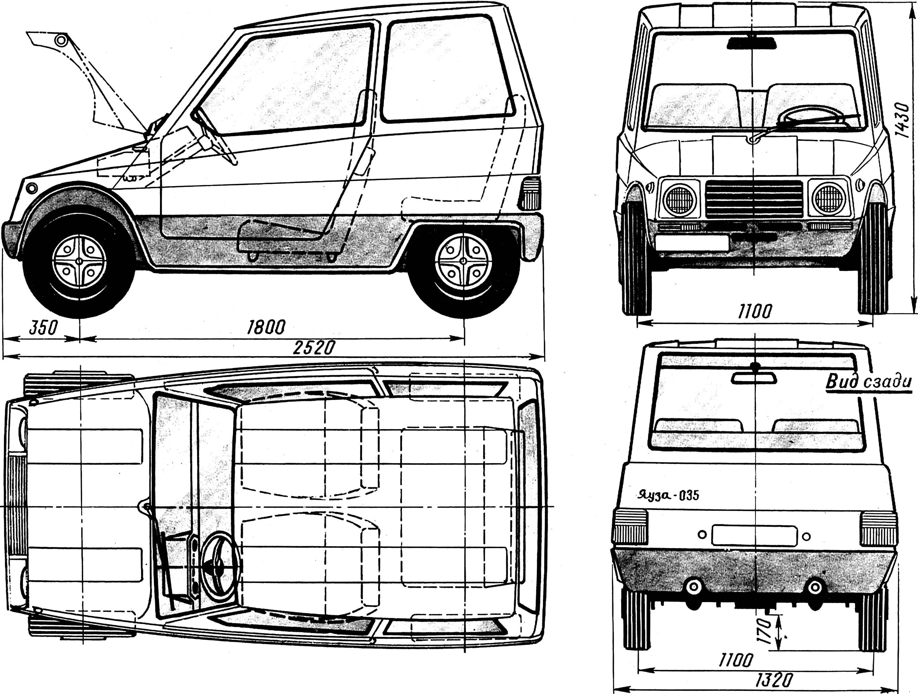 Рис. 1. Микролитражный городской автомобиль типа «2+2» «Яуза-035».