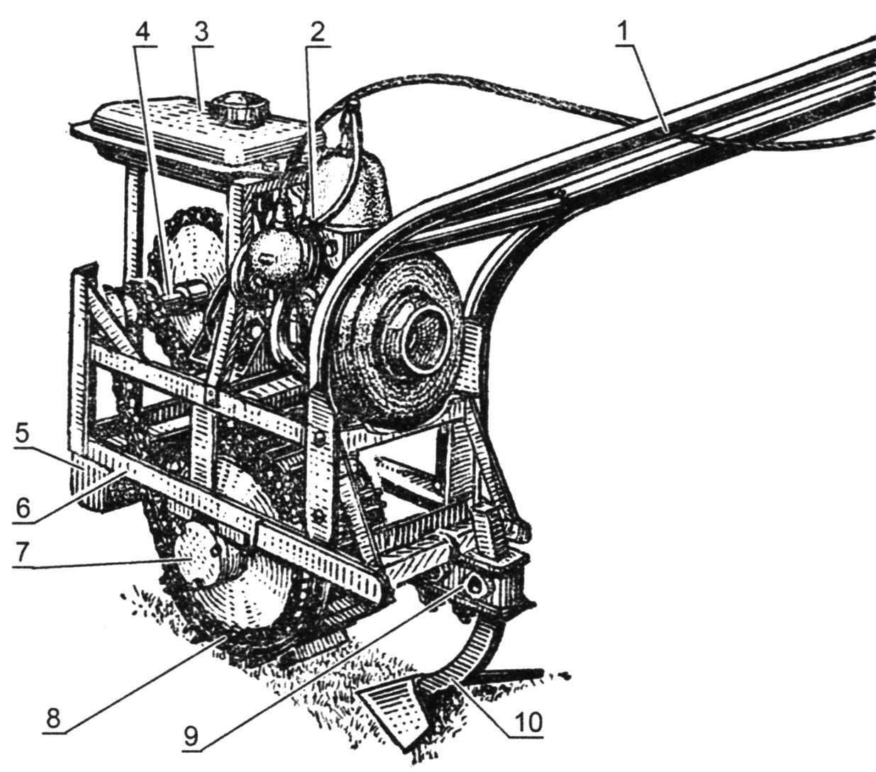 Обший вид одноколёсного мотоплуга