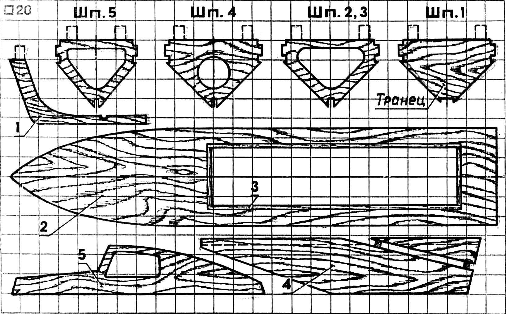 Рис. 2. Шаблоны для изготовления основных деталей модели.